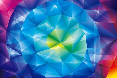Polygonal crystal colorful abstract background. Geometric shapes digital technology screen wallpaper.