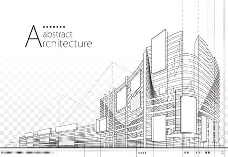 Ilustración 3D diseño de perspectiva de construcción de edificios de arquitectura, dibujo de líneas de edificios urbanos modernos abstractos.