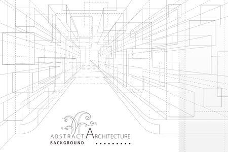 Perspectief interieur architectuur lijntekening abstracte achtergrond.