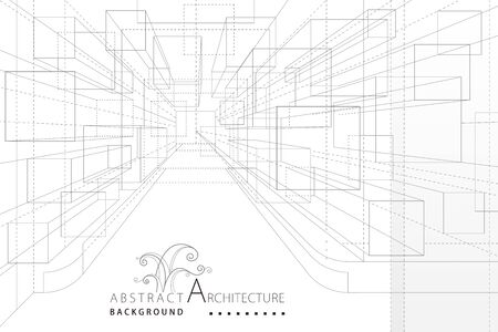 Perspective Interior Architecture Line Drawing Abstract Background.
