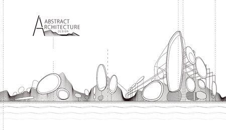 3D illustration architecture building construction perspective design, abstract modern urban landscape line drawing. Illusztráció