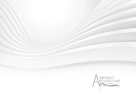 3D illustration architecture construction perspective design, White modern geometric perspective abstract background.