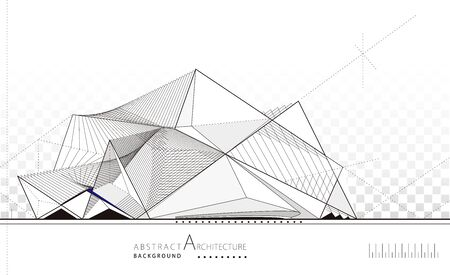 3D illustration architecture building construction perspective design, abstract imagine modern building background.