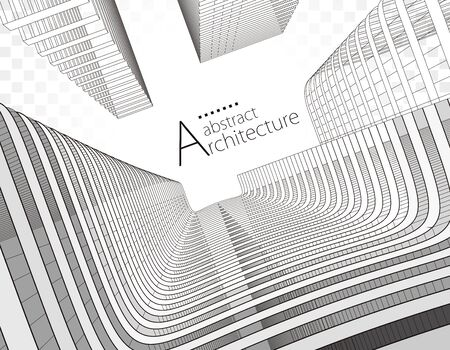 Modern Architecture 3D illustration. Architecture building construction perspective line drawing design, underside view urban building abstract background.