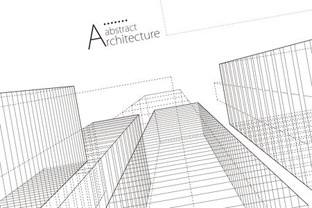 Modern architecture urban 3D illustration. Architecture building construction perspective line drawing design abstract background.