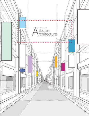 Architecture building construction perspective design,abstract modern urban street building line drawing.