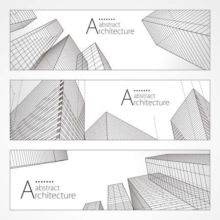 Architecture abstract modern building, Architecture building construction perspective line drawing design banner set.
