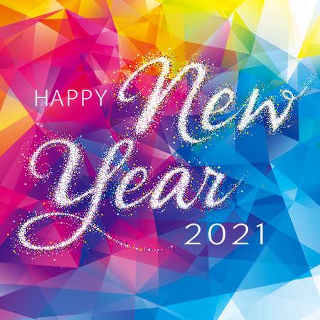 Happy New Year with Abstract geometric pattern colorful gem modern background. Illusztráció