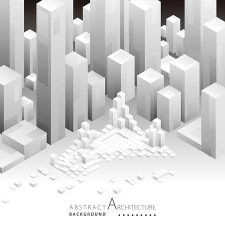 3D illustration architecture building construction perspective design,abstract modern urban geometric background. Illusztráció