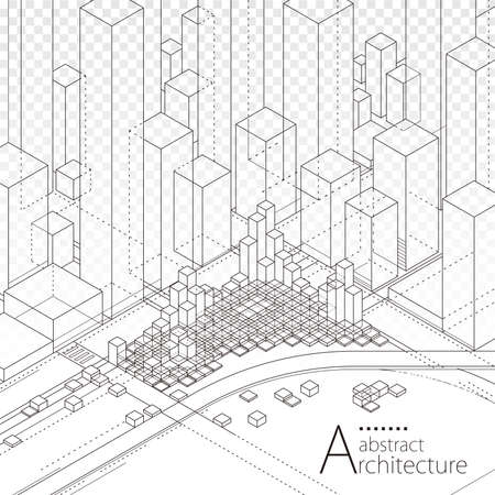3D illustration architecture building construction perspective design,abstract modern urban line drawing background.