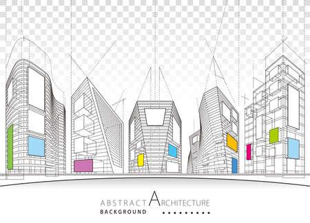 Architecture building construction perspective design,modern urban building line drawing abstract background. Illusztráció