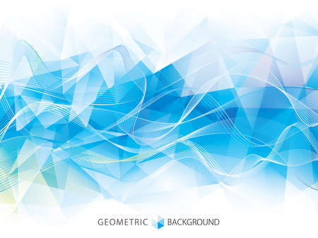 Geometric polygonal pattern with wave lines abstract modern background design.