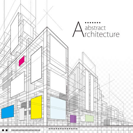 Architecture building construction perspective design,abstract modern urban line drawing background.
