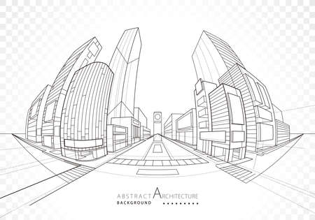 Architecture building construction perspective design, abstract modern urban landscape background.