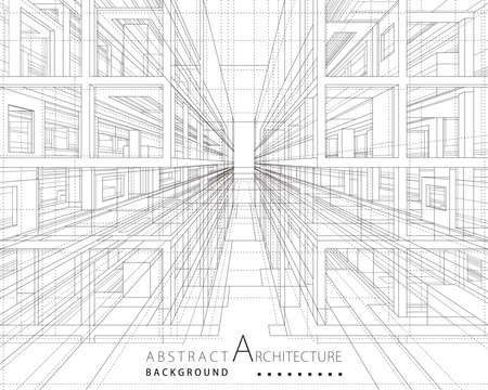 Architecture building construction perspective design,abstract modern urban building line drawing.