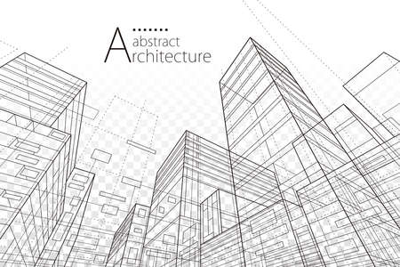 Architecture urban. Architecture building construction perspective line drawing design abstract background. Illusztráció