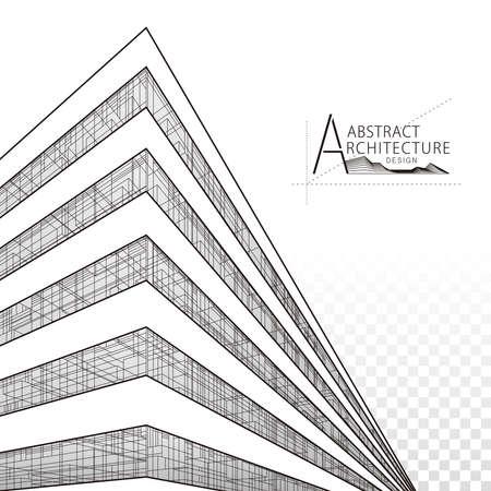 Architecture building construction perspective design, abstract modern urban building line drawing. Illusztráció