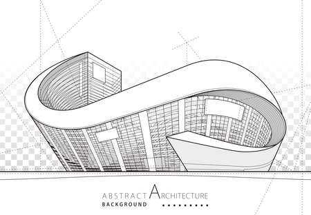 Abstract modern architecture design, Architecture building construction perspective line drawing background.