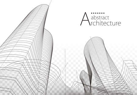 3D illustration linear drawing, imagination architecture urban building design, architecture modern abstract background.