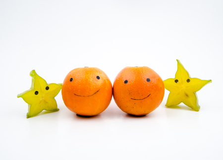 personification: Personification of star fruit and orange Stock Photo