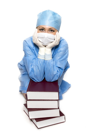 nhs: Doctor with books