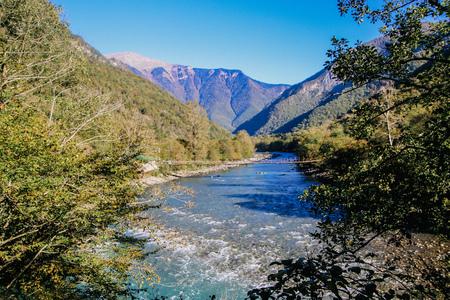 Landscape with blue mountain river. autum