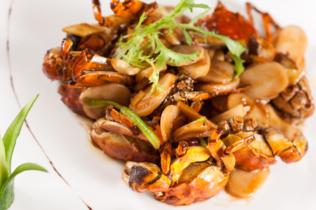 chinese dinner: Fried crab with rice cake,Chinese dinner Stock Photo