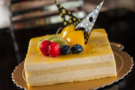 mousse: Mango Mousse Cake Stock Photo