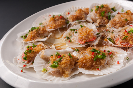Steamed Scallop in Shell with garlic Stock fotó