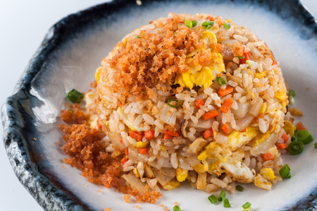 salted: chinese cuisine, salt salmon fish and egg fried rice on white background
