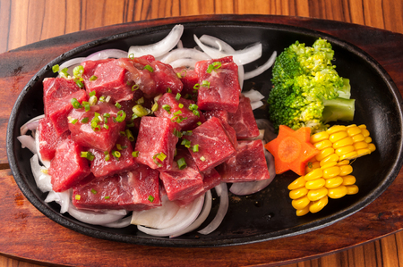 meat and alternatives: Raw cutting beef with vegetables in Iron plate