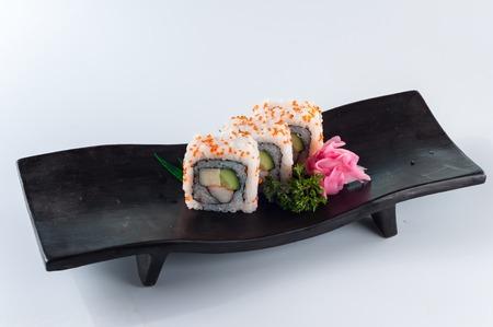 california roll: California Roll Sushi, kaiseki Stock Photo