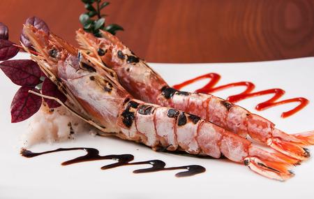 arugola: Japanese grilled shrimp