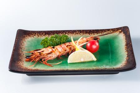 arugola: Japanese grilled prawn,kaiseki Stock Photo