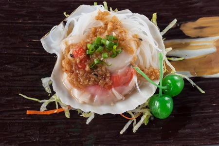 sea fans: Grilled scallop with garlic, onion, Japanese cuisine Stock Photo