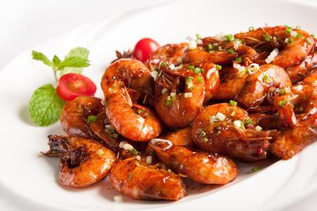 chinesisch essen: Chinesische K�che-Ged�mpfte Shrimp in Black Bean Sauce Lizenzfreie Bilder