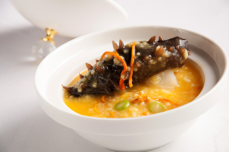 sea cucumber: Chinese cuisine-Millet with sea cucumber Stock Photo