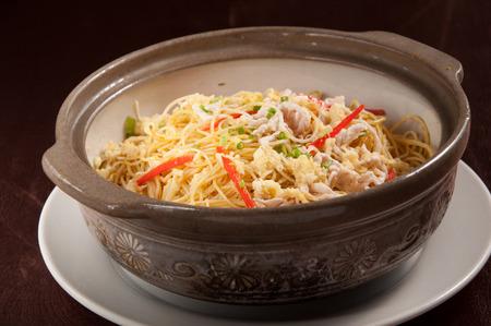 rice noodles: Singapore Fried rice noodles Stock Photo