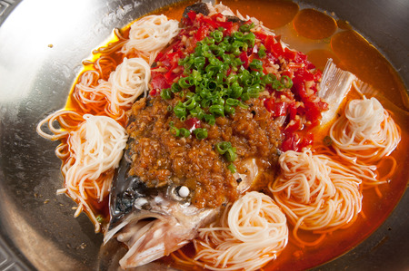 fish head: Steamed Fish Head with Diced Hot Red Peppers