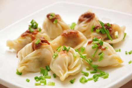 chinese meal: Chinese cuisine-Boiled dumplings Stock Photo