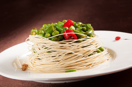 sauteed: Sauteed Green Beans dishes Stock Photo
