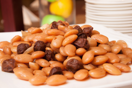 kidney beans: Kidney beans and plum Stock Photo
