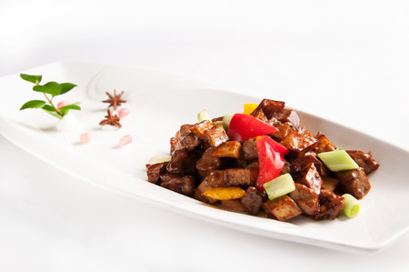 Chinese cuisine-Stir fried beef with black pepper and mushroom
