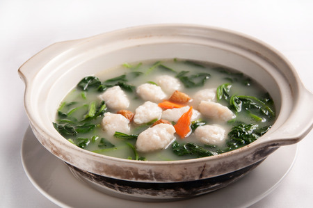 fish ball: Chinese cuisine-The soup fish ball with Vegetables