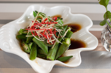 Okra with soy sauce,Chinese food