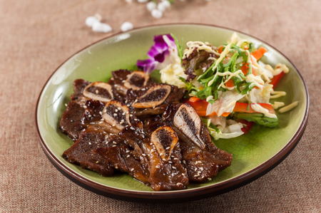 Beef Short Ribs with salad Stock fotó