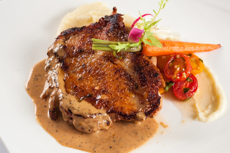 Fried chicken steak with black pepper sauce Mashed Potato