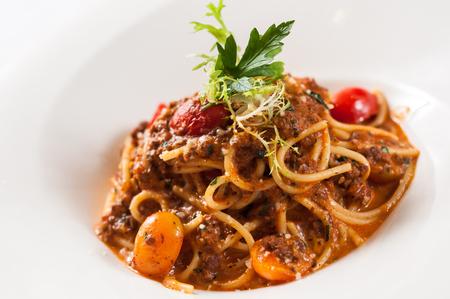 Spaghetti with beef sauce Stock Photo