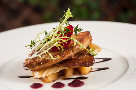 pan-fried goose liver with fresh fruit jam