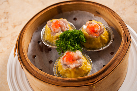 Shrimp and minced meat Steamed Pork Dumplings Stock Photo